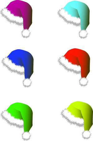 Set of multi-colored hats and caps for Santy. A vector illustration Vector
