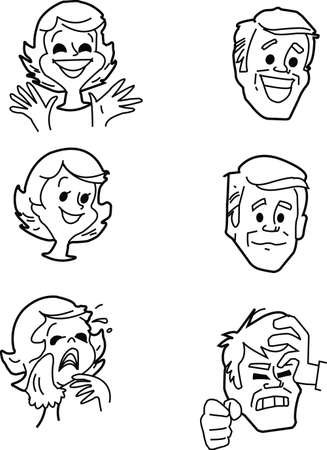 dissatisfaction:  Set of pictures of emotions of the man and the woman - a vector Illustration