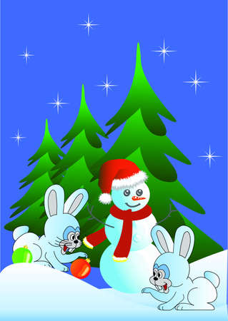 Hares congratulate on Christmas, behind there is a snowman against fur-trees. A vector. Stock Vector - 8364598