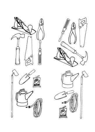 Collection of vector contours of various tools in black-and-white execution