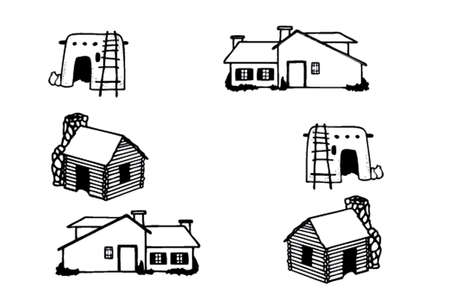 different kind of houses and buildings - Vector Illustration 1 Vector