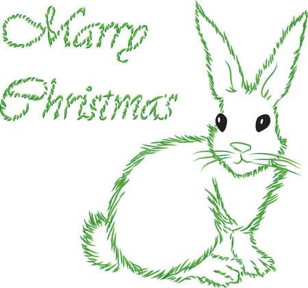 Der weiße Hase mit einer Kontur Fur-Tree-Nadeln gratuliert zu Weihnachten