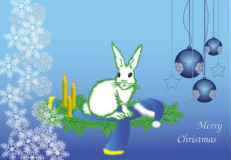 furtree: The white hare with a contour fur-tree needles congratulates on Christmas Illustration
