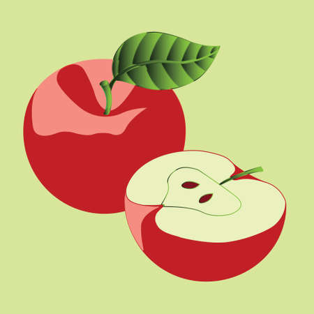 fruited: Two red apples on a green background