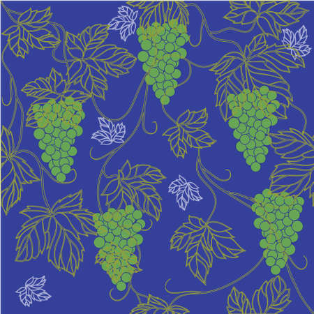 Seamless Wallpaper with floral ornament with leafs and grapes for vintage design,retro background Stock Vector - 8416855