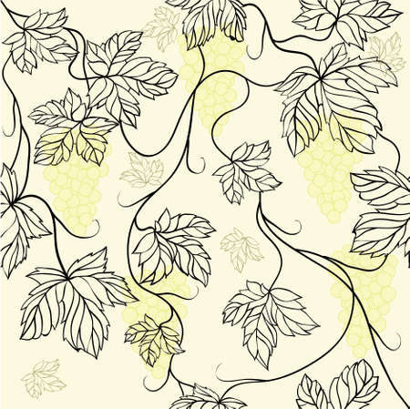 Seamless Wallpaper with floral ornament with leafs and grapes for vintage design, retro background Stock Vector - 8416827