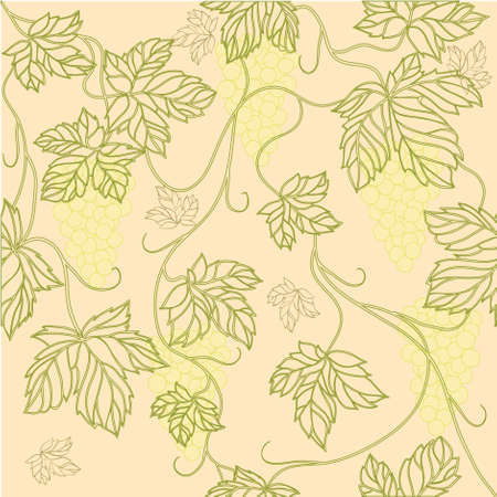 Seamless Wallpaper with floral ornament with leafs and grapes for vintage design,retro background Stock Vector - 8416849