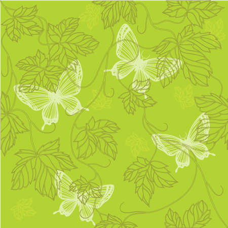 Seamless Wallpaper with floral ornament with leafs and butterfly for vintage design, retro background Stock Photo - 8416916