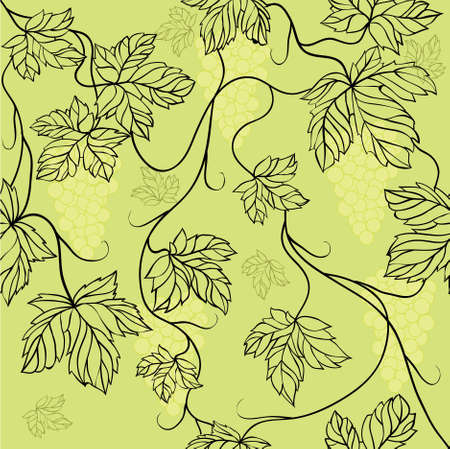 Seamless Wallpaper with floral ornament with leafs and grapes for vintage design, retro background Stock Photo - 8416939
