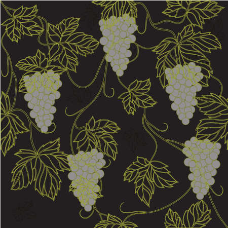 Seamless Wallpaper with floral ornament with leafs and grapes for vintage design, retro background Stock Photo - 8416942