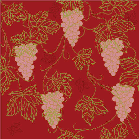 Seamless Wallpaper with floral ornament with leafs and grapes for vintage design, retro background Stock Photo - 8416945