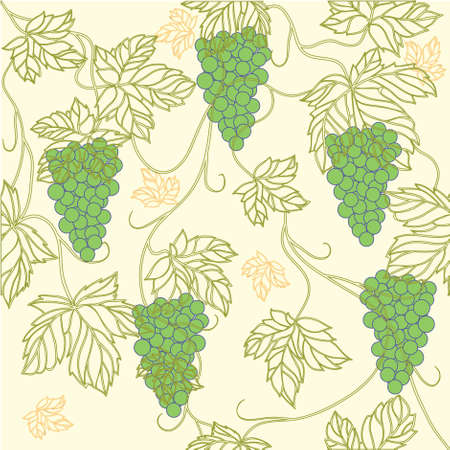 Seamless Wallpaper with floral ornament with leafs and grapes for vintage design,retro background Stock Photo - 8416968