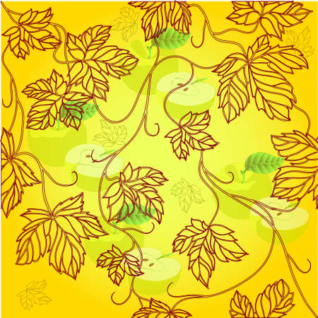 Seamless Wallpaper with floral ornament with leafs and applefor vintage design  Stock Vector - 8440658