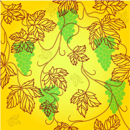 Seamless Wallpaper with floral ornament with leafs and grapes for vintage design Stock Vector - 8440653