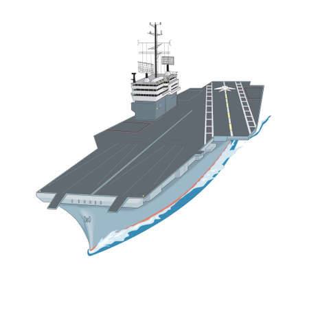 carriers: Aircraft carrier floating on waves with plane flying up from it a vector illustration