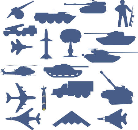 Set of planes of tanks of guns and military technology Stock Vector - 8471719