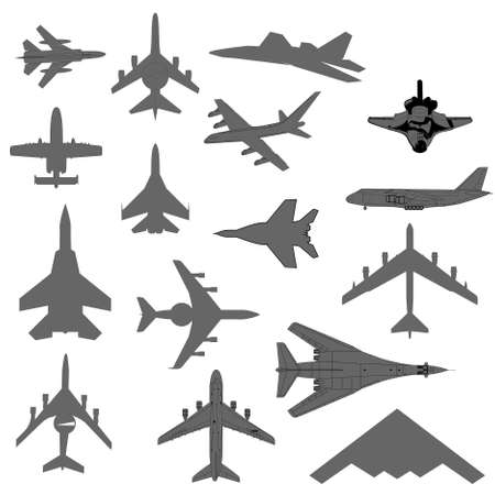 fighter pilot: military combat airplane silhouettes set Illustration