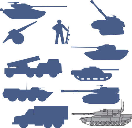 wartime: Collection set of tanks of guns and military technology Illustration