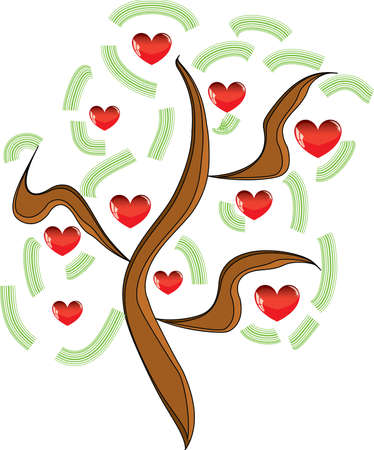 Vector apple tree with red fruits in the form of heart illustration Valentines Vector