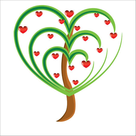 Vector apple tree with red fruits in the form of heart illustration Valentines Stock Vector - 8471723
