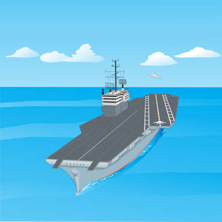 nato: Aircraft carrier floating on waves with plane flying up from it a vector illustration