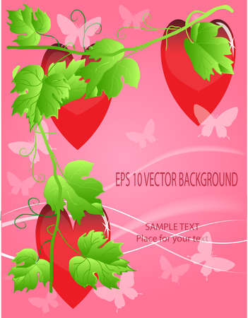 Valentines ornament with red love heart vector illustration Vector
