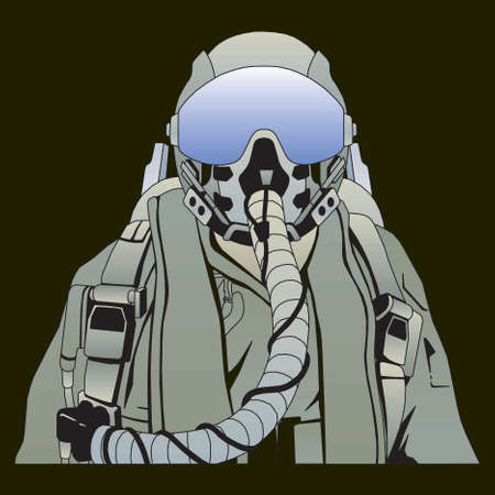 The military pilot in the plane in a helmet vector Vector