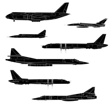 Combat aircraft. Team. Colored vector illustration for designers Vector