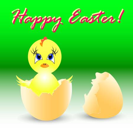 easter holiday illustration with chicken, isolated on white background Stock Vector - 8547214