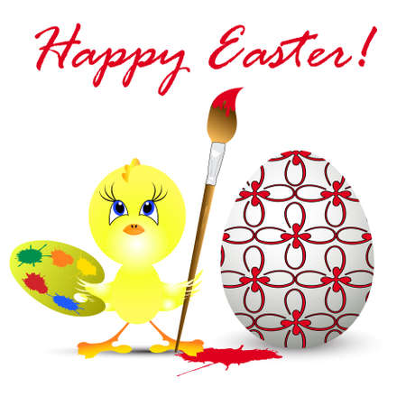 poult: Ilustraci�n de vacaciones de Semana Santa con pollo, aislado en fondo blanco