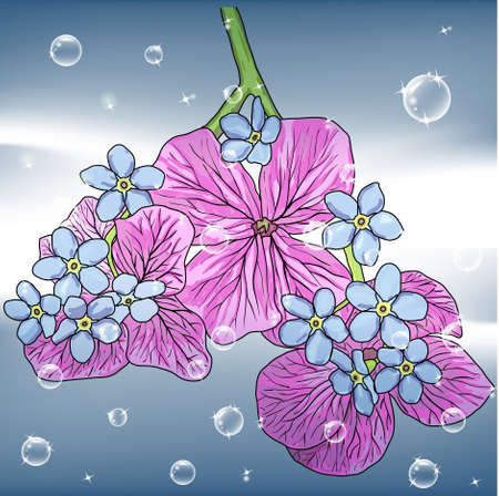 roll curtains: floral background with a hand drawn flavor of blooming spring Blossoms
