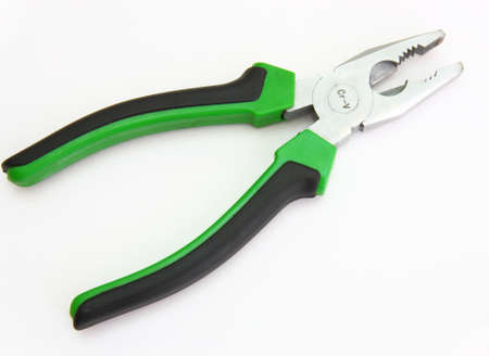 flatnose: Flat-nose pliers with green handles and black strips on a white background Stock Photo