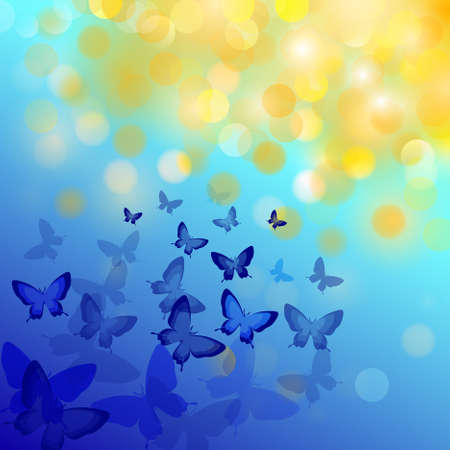 Abstract colourful background with butterflies. Vector