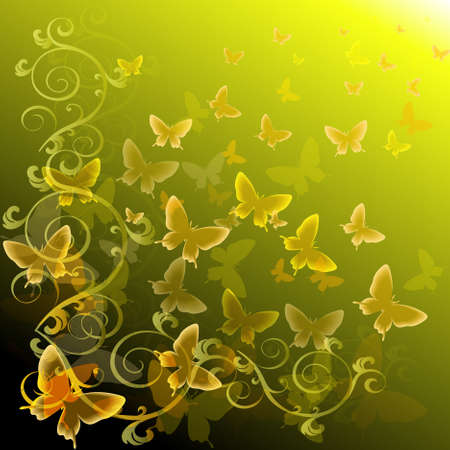 Abstract colourful background with butterflies. A vector. Vector