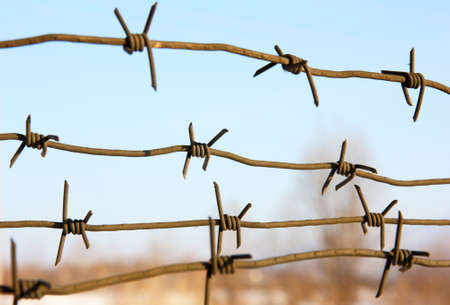 concentration camp: barbed wires against blue sky. Stock Photo