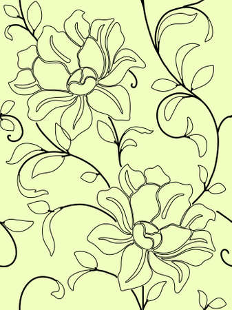Seamless wallpaper  a seam with flower and leaves eps10 photo