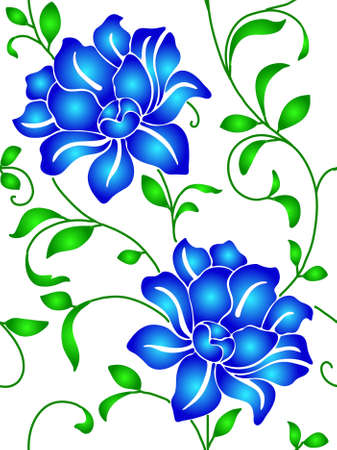 textiles: Seamless wallpaper  a seam with flower and leaves eps10