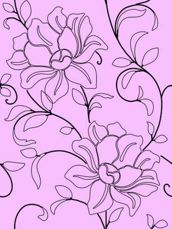 Seamless wallpaper  a seam with flower and leaves eps10 Stock Vector - 8840969