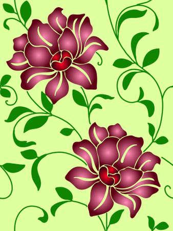 Nahtlose Wallpaper eine Naht mit Blumen und Blätter eps10