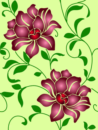 Seamless wallpaper  a seam with flower and leaves eps10 Vector