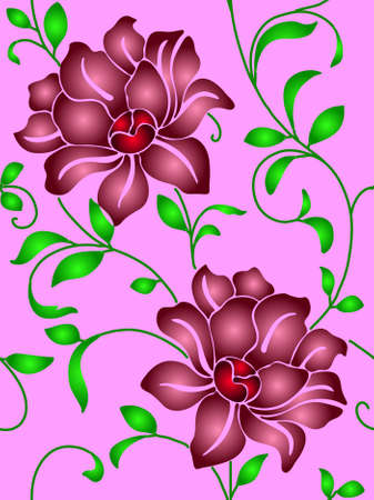 Seamless wallpaper  a seam with flower and leaves eps10 Stock Vector - 8840973