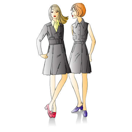 Two fashion  beautiful  girls standing nearby Stock Vector - 8841072