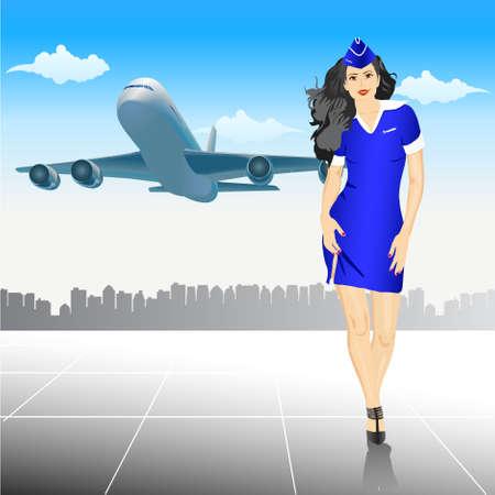 azafata de vuelo: bella azafata en el aeropuerto