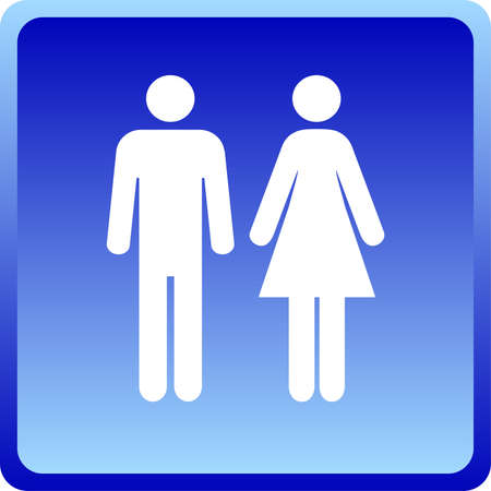 restroom sign: Man &amp, Woman icon over blue background