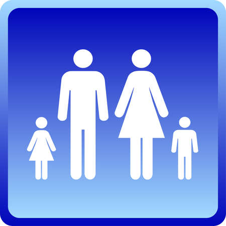 bathroom sign: Man &amp, Woman icon with children  over blue background  Illustration