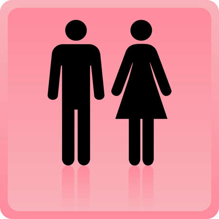 human gender: Man &amp, Woman icon over pink background