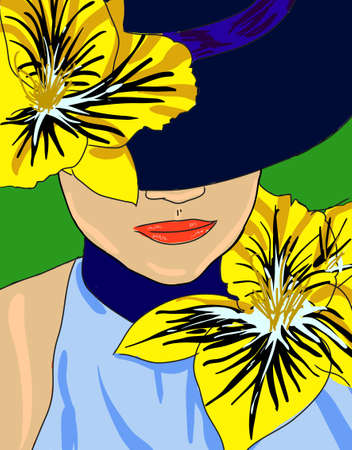 beautiful girl face: The elegant summer girl in a hat with colors
