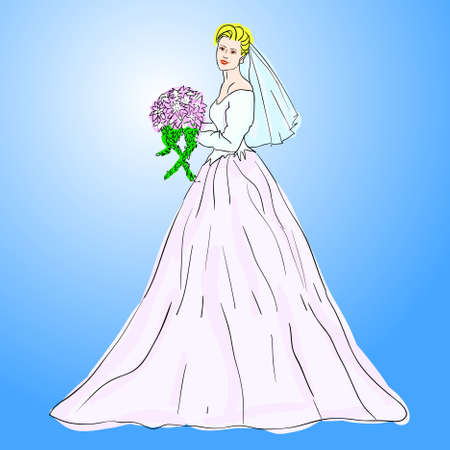 Bride in wedding dress white with bouquet Vector