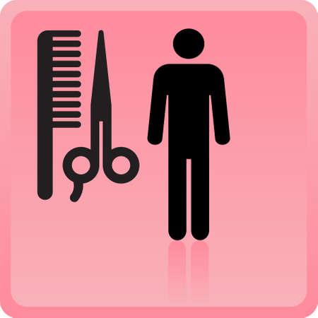 kam: kapsel of haar salon symbool