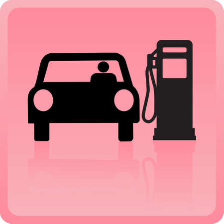 refueling: Icon of the car refueling with gasoline